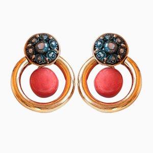 Vintage Ohrringe aus 18 Karat Gold und Silber mit Korallen und Diamanten, 1970er, 2er Set
