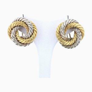 Vintage Two-Tone 18k Gold Earrings, 1960s