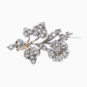 Liberty Brooch in 18k Gold and Silver with Diamond Rosettes