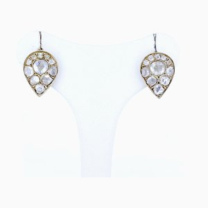 Liberty Earrings in 14k Gold and Silver with Diamond Roses, 1900s