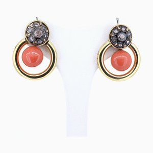 Vintage 18k Gold and Silver Earrings with Rosette and Coral Cut Diamonds, 1970s