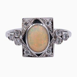 Ring aus 18 Karat Weißgold mit Opalglas und Diamanten