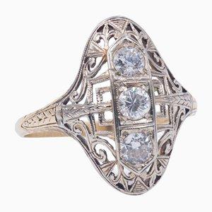Art Nouveau Gold Ring with 3 Diamonds, 1920s