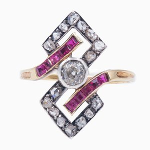Art Deco Ring in 14k Gold and Silver with Diamonds and Rubies, 1930s
