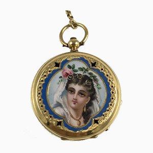 Antike goldene Uhr mit Kette, 1800er