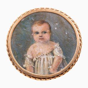 Antike goldene Brosche mit Miniaturfigur, 1800er