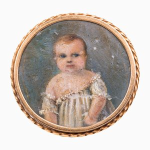 Antique Gold Brooch with Miniature Figure, 1800s