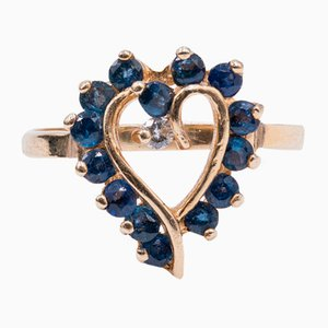 Vintage 14k Gold Heart Ring with Topaz and Diamond, 1970s