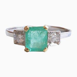 18 Karat Gold Ring mit Smaragd und Diamanten