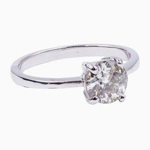 Antiker Diamant Solitär Ring aus 18 Karat Weißgold mit Geschliffenem Diamanten