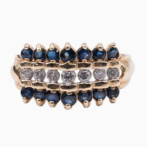 Vintage Ring in 14k Gold with Sapphires and Diamonds, 1950s