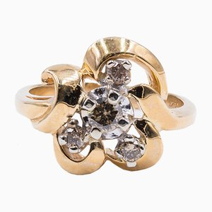 Vintage 14 Karat Gold Ring mit Braunen Diamanten, 1950er