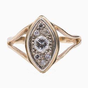 Vintage 14 Karat Gold Ring mit Diamanten, 1960er