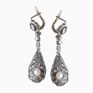 Liberty Ohrringe aus 18 Karat Gold, 14 Karat Gold und Silber mit Diamanten in Rosettenschliff, 1920er, 2er Set