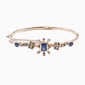 Antikes 12 Karat Goldarmband mit Saphiren & Diamanten, 1900er