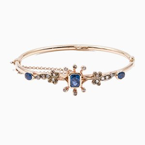 Antique 12k Gold Bracelet with Sapphires and Diamonds, 1900s