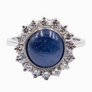 Vintage 18k Gold Ring with Central Sapphire and Diamonds, 1960s