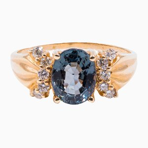 Vintage 14k Gold Ring with Topaz and Diamonds, 1960s