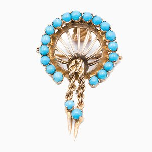 Vintage 14k Gold Pendant or Brooch with Turquoise, 1950s