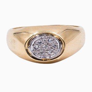 Vintage 14 Karat Gelbgold Diamant-Ring, 1960er