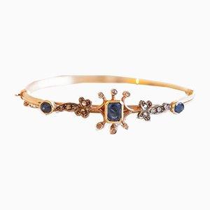 Antique 12k Gold Rigid Bracelet with Sapphires and Diamonds, 1900s