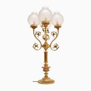 Lampe de Bureau Style Antique en Laiton et Verre, France