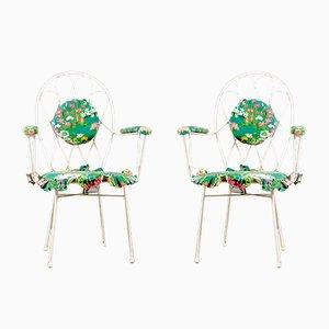 Weiße Mid-Century Stühle aus Eisen, 1960er, 2er Set