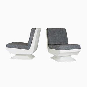 Französische Weiße Glas Sessel, 1970, 2er Set