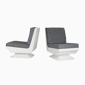 French White Glass Lounge Chairs, 1970, Set of 2