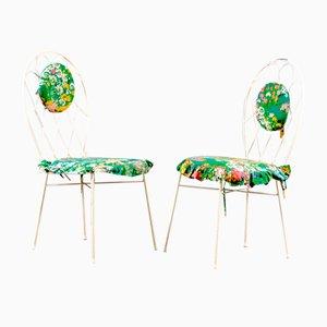 Mid-Century White Iron Chairs, 1960s, Set of 2