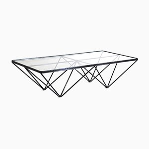 Square Iron Coffee Table with Glass Top, 1980s