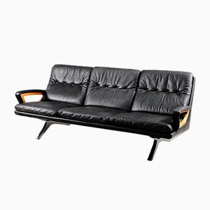 German Cubistic Leather 3-Seat Sofa with Loose Cushion, 1960s