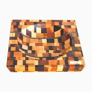 Wooden Mosaic Bowls, 1970s