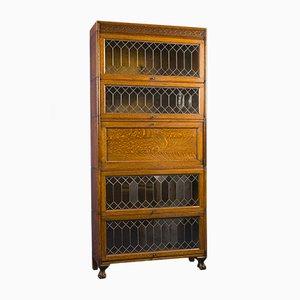 Oak and Lead Glazed Barrister Sectional Bookcase & Bureau by Gunn, 1910