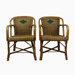 Chaises Art Déco en Rotin, Set de 2