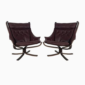 Vintage Brown Leather High Back Winged Falcon Chair by Sigurd Ressell, 1960s