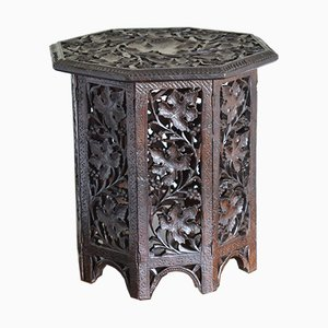 Anglo Indian Carved Table with Octagonal Top, 1900s