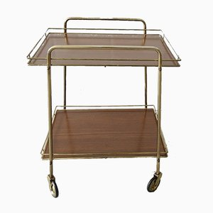 Brown & Gold Metal and Formica Trolley, 1960