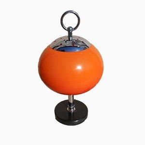 Orangefarbene Tischlampe mit Schwarzem Marmorfuß, 1950er