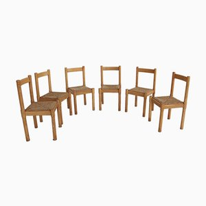 Oak & Rush Carimate Chairs by Vico Magistretti for Cassina, 1970s, Set of 6