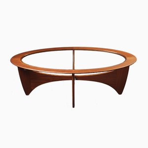 Mid-Century Oval Teak and Glass Astro Coffee Table by Victor Wilkins for G-Plan, 1960s
