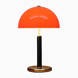 Vintage Table Lamp with Chrome Foot and Orange Shade, 1970s