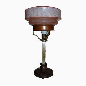 Pre-War Brass Lamp with Art Deco Wood