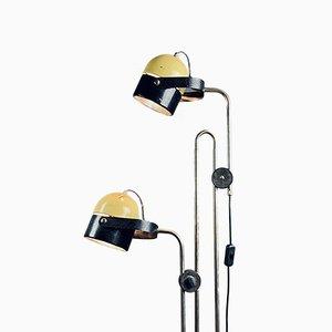 Mid-Century Metall Stehlampe in Gelb & Schwarz, 1970er