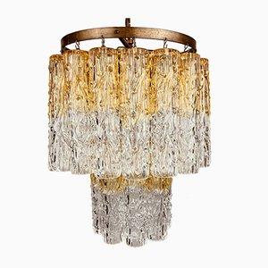 Murano Glass and Brass Tronchi Chandelier from Venini, Italy, 1960s