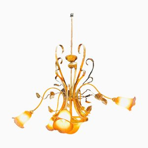 Big Glass and Brass Chandelier with Iron Leaves