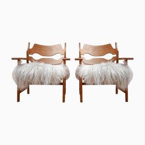 Dänische Mid-Century Schafsleder Lehnstühle aus Schafsleder von Henning Kjærnulf, 2er Set