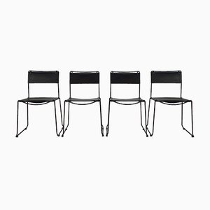 Italian Black Saddle Leather Dining Chairs by Giandomenico Belotti for Fly Line, 1970s, Set of 4