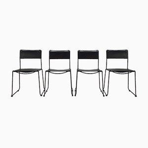 Italienische Schwarze Sattelleder Esszimmerstühle von Giandomenico Belotti für Fly Line, 1970er, 4er Set