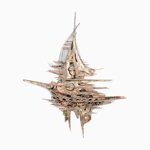 Monumentale Metall Wandskulptur im Brutalistischen Stil von M. Di Giovanni